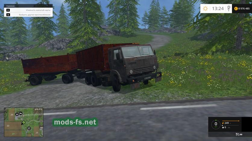 скачать моды для Farming Simulator 2015 камаз с прицепом - фото 3