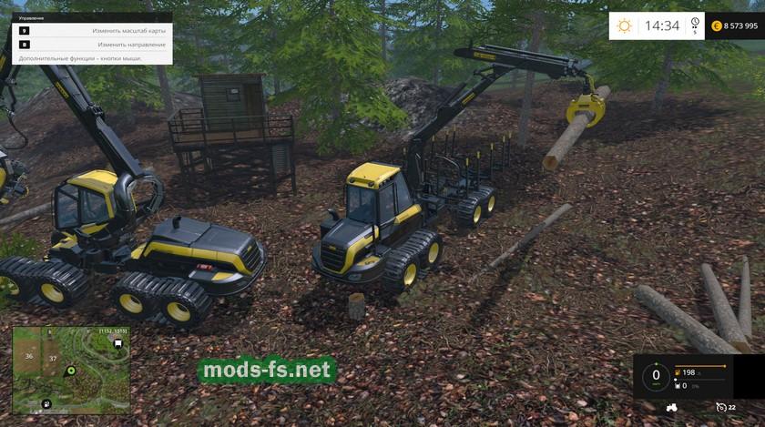 Управление погрузчиком для погрузки деревьев в FS 2015