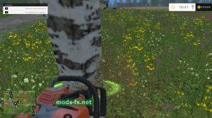 Срезаем деревья бензопилой вFarming Simulator 2015