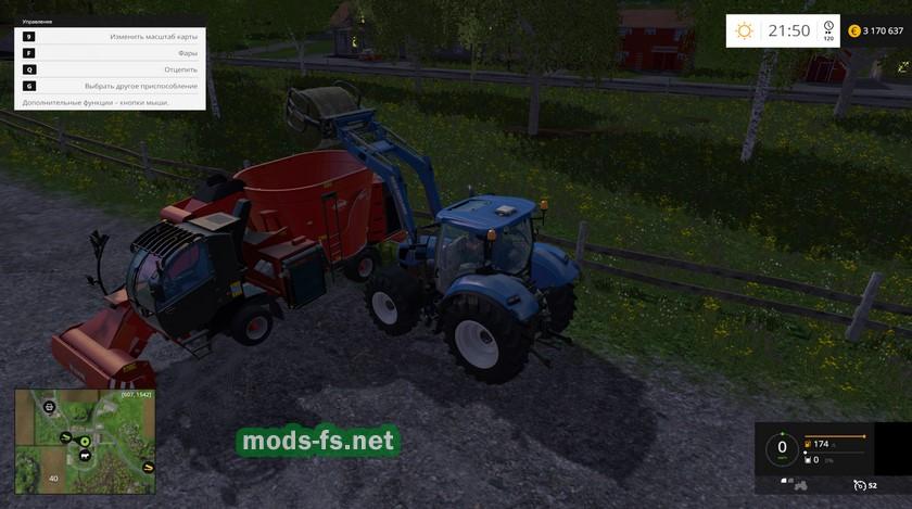 Кормим коров сеном в FS 2015
