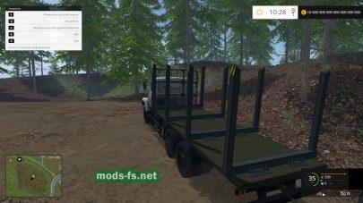 КрАЗ-6233 с прицепом для перевозки деревьев