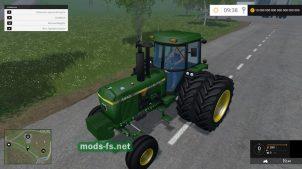 Трактор John Deere со сдвоенными колесами