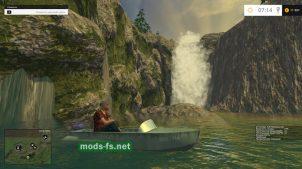 Водопад и лодка в игре FS 2015