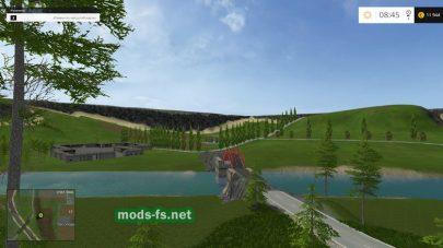 Речка и мост на карте «Три горы»