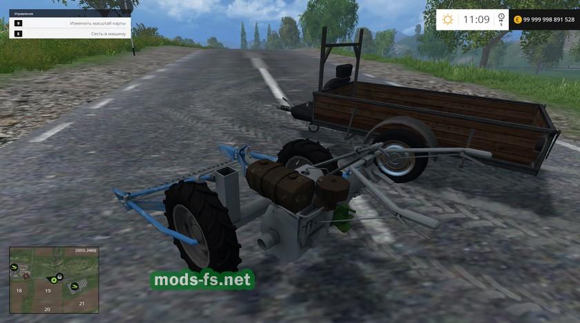 Скачать мод для farming simulator 2015 мотоблок с прицепом