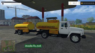 Пак грузовика ГАЗ с бочкой и прицепом для перевозки топлива