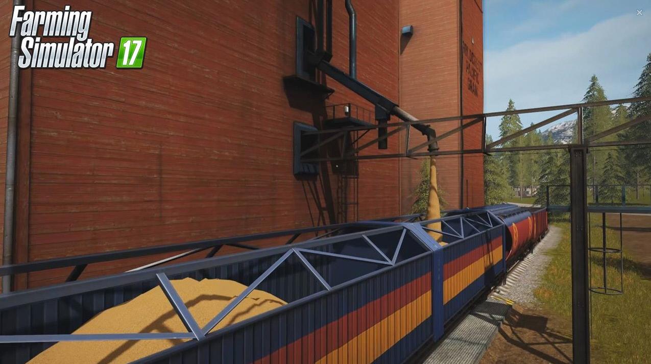 Загрузка зерна в поезд в игре Farming Simulator 17
