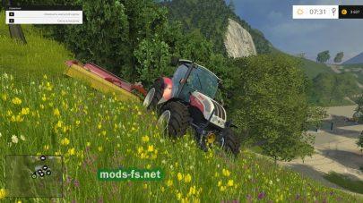 Скашивание травы на карте «THE ALPS MAP» в игре FS 2015