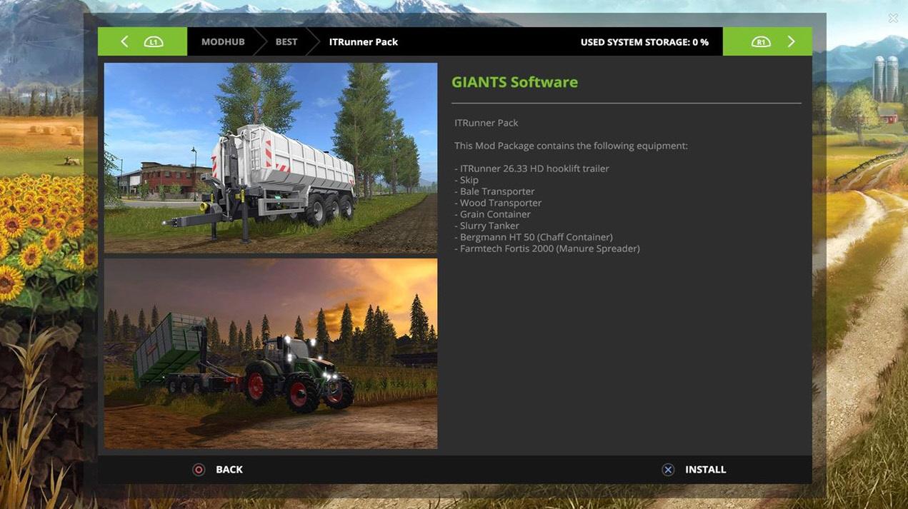 Mod Hub – управление модами в Farming Simulator 17