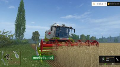 Уборка зерна комбайном CLAAS LEXION 550 в игре Farming Simulator 2015
