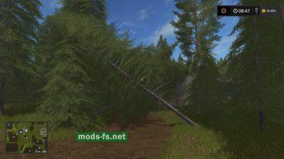 Карат с множеством деревьев для игры Farming Simulator 2017