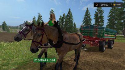 Лошади с повозкой для перевозки грузов в игре FS 2017