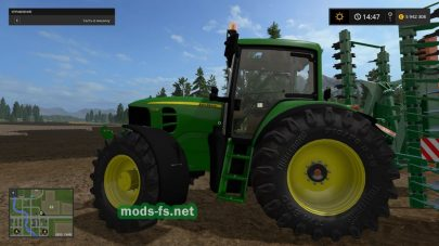 Трактор John Deere 7430 для Farming Simulator 2017