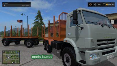 Пак КамАЗ с прицепом для перевозки леса