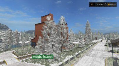 Дорогие, деревья и поля в снегу в FS 2017