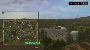 Расположение полей на карте в игре Farming Simulator 2017