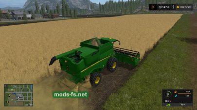 John Deere 625R: уборка поля в игре FS 17