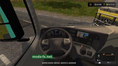 Тягач MercedesArocsAgrar: вид с кабины
