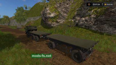 Мод на КамАЗ с платформой в игре FS 17