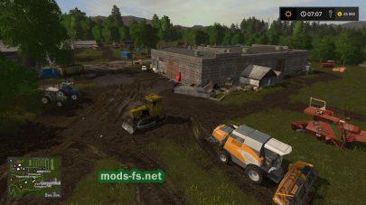 Деревня и грязь  в игре Farming Simulator 2017