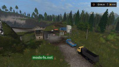 Карта с карьером в игре Farming Simulator 2017