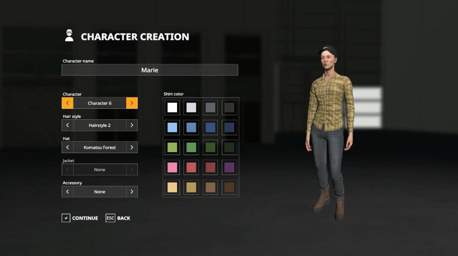 Выбор фермера в игре Farming Simulator 2019
