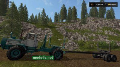 Мод трактора Т-150 с прицепом для бревен