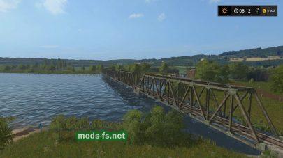 Карта с большой речкой и мостом в FS 2017