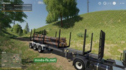 Прицеп для перевозки бревен в игре Farming Simulator 2019