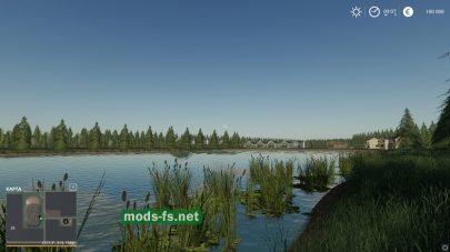 Озеро и камыши в игре FS 19