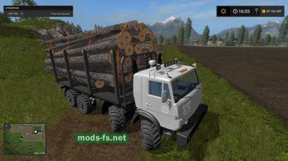 Мод на КамАЗ для перевозки бревен в FS 17