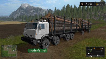 Перевозка деревьев в FS 17 на полноприводном КамАЗе
