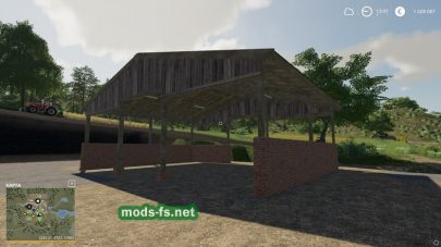 Wood Frame Open Sheds With Brick Wall FS 19