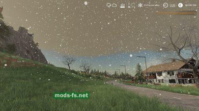 Снег в Farming Simulator 2019 от мода «RM Seasons»